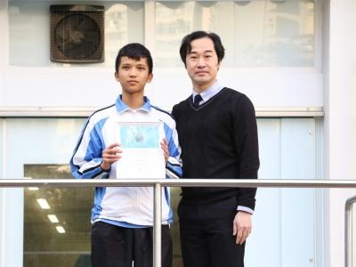 3A曾智華榮獲UNICEF HK「聆聽.一分鐘」短片比賽初中組最佳一分鐘短片大獎(校園電視台)